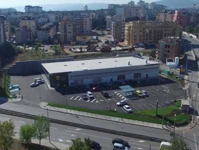 Aerial video of LIDL store in Sofia