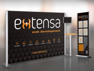 Advertising banners and displays for Extensa